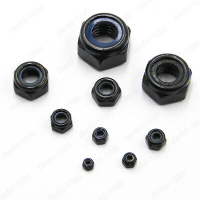 Black Steel Nylon Insert Lock Nut Hex Nylock Nuts M2 M2.5 M3 M4 M5 M6 M8 M10 M12