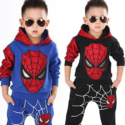 Boys Kids Spiderman Pattern Hooded Sweatshirt Trousers Casual Tracksuit Outfits