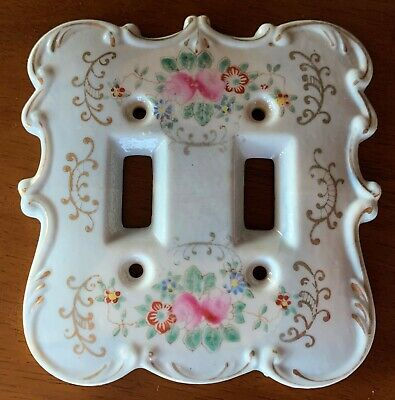 Vintage Porcelain Double Light Switch Plate Cover  Floral With Gold Accent Lines