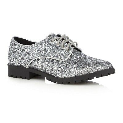 BlueZoo at Debenhams Girls Brogues Shoes, Silver Glitter, UK Kids Size 12