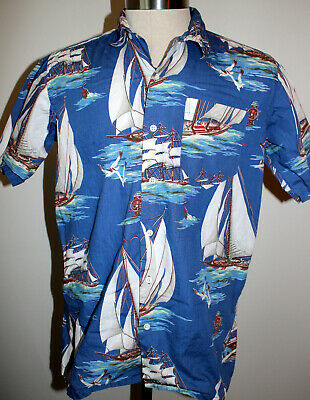 Vintage Ralph Lauren Polo Boat Sailing Design Short Sleeve Shirt Sz Medium