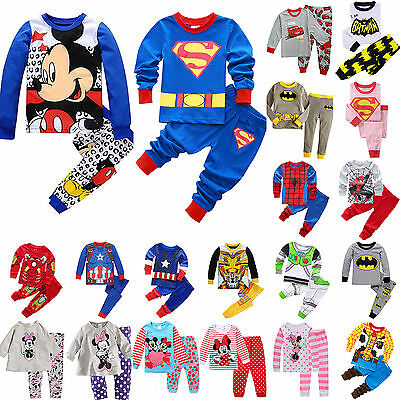 Kids Boys Girls Casual Sleepwear Cartoon Long Sleeve Tops Pants Pyjamas Outfits