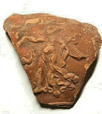 Ancient Roman Arretine Pottery Fragment with Goddess Nike (Victory) (1st Cent.)