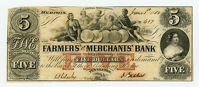 1854 $5 The Farmers' and Merchants' Bank of Memphis, TENNESSEE Note AU