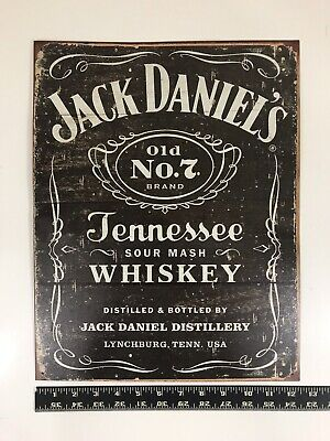Jack Daniel/'s Tennessee Whiskey Weathered Woodcut Logo Decor Metal Tin Sign New