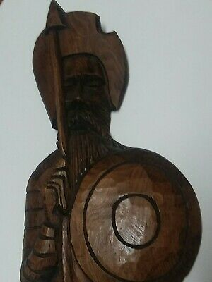 "Vintage 27"" Wall Hanging Wood Hand Carved Conquistador Trident Fork"