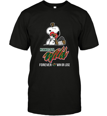 NHL Snoopy Forever Win Or Lose Hockey Minnesota Wild Funny Black T-Shirt S-6XL