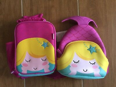 Girls Pink Purple 3D Mermaid School Backpack Cooler Insulated Lunch Bag Set NEW