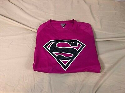 Nice Under Armour Heat Gear Loose Compression Pink Superman T Shirt Mens Xl