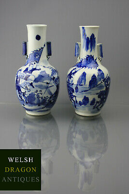 Chinese Blue And White Xianfeng Period Pair Of Warrior Vases Porcelain 19th C