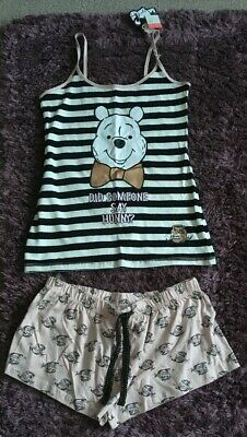 Ladies Disney Winnie The Pooh Vest Top & Shorts Pj's Pyjamas Bnwt M 12-14 Gift