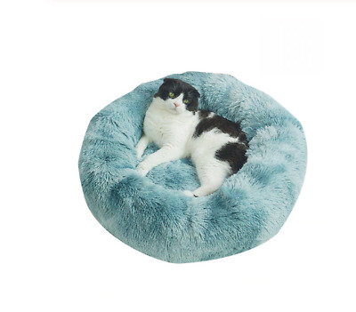 Bed Sleeping Kennel Nest Donut Plush Pet Dog Cat Bed Fluffy Soft Warm Calming