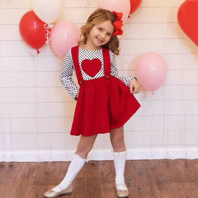 Toddler Kids Baby Girls Valentine Dot Heart-shaped Tops Suspender Skirts Outfits