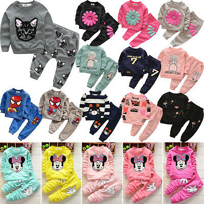 Kids Boys Girls 2Pcs Printed Tracksuit Sweatshirt Tops Trousers Pants Outfit Set