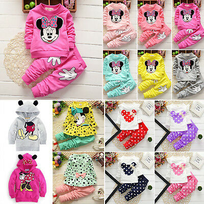 Girls Minnie Mouse Winter Long Sleeve Sweatshirt Tops Trousers Tracksuit Outfits