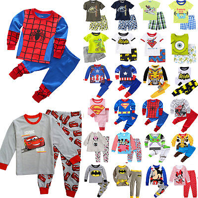 Kids Boys Girls Cartoon Pajamas Casual Loungewear Sleepwear Long Sleeve Outfits