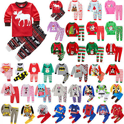 2Pcs Kids Boys Girls Winter Soft Pyjamas Sleepwear Nightwear Christmas Xmas Sets