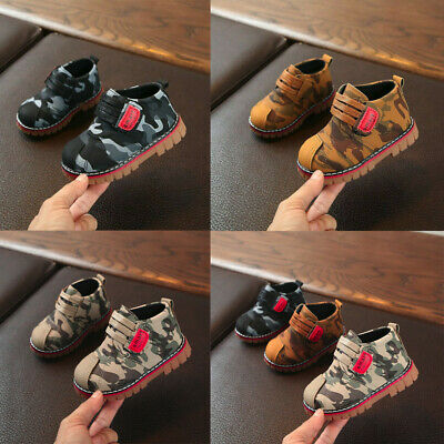 Children Infant Kids Baby Girls Boys Camouflage Ankle Boots Booties Casual Shoes