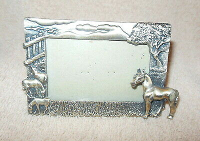 Beautiful Small Pewter Horse Equestrian Picture Or Photo Frame
