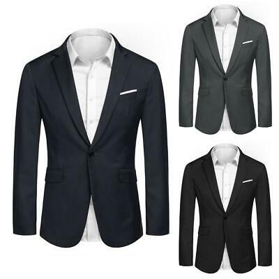 Men Fashion Casual Turn Down Collar Long Sleeve Solid Blazer EHE8