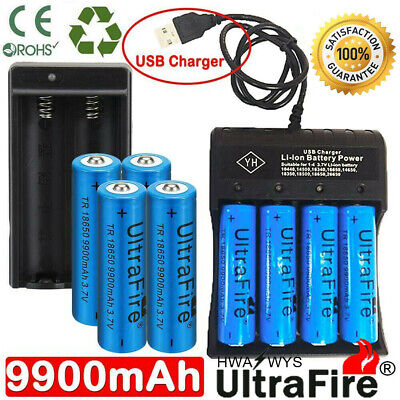 4X 18650 9900mAh 3.7v Li-ion Rechargeable Batteries + 4-Slot USB / Dual Charger
