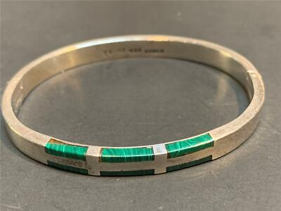 Vintage Mexico Taxco Sterling Silver and Malachite Hinged Bangle Bracelet TF-48