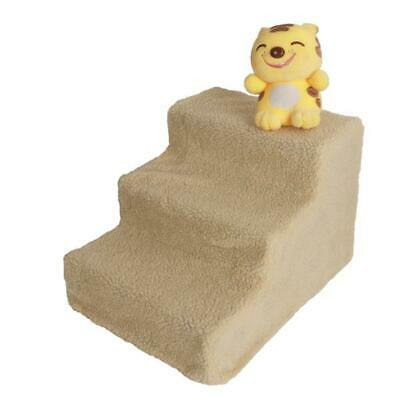 Pet Stairs 3 Steps Portable Cat Dog Step Ramp Small Climb Ladder w/ Cover Beige