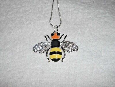 BUMBLE BEE Unwanted Sparkly Large Charm NECKLACE Rhinestone Beekeeper Gift B