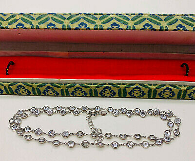 VINTAGE JEWELLERY STERLING SILVER BEZEL SET CLEAR STONE NECKLACE (boxed)