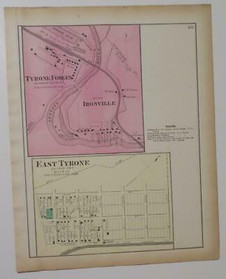 Orig. 1873 Hand Colord Map Tyrone Forge,E. Tyrone,Ironvl,Snyder Twp,Blair Co.,Pa