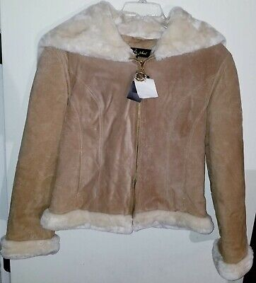 NEW Women's New Baby Phat Faux Leather Shearling Suede Jacket Tan Fur Coat Large