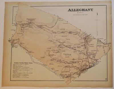 ORIGINL 1873 HAND COLORED MAP of ALLEGHANY TWP BLAIR COUNTY,PA,RAILROADS,OWNERS