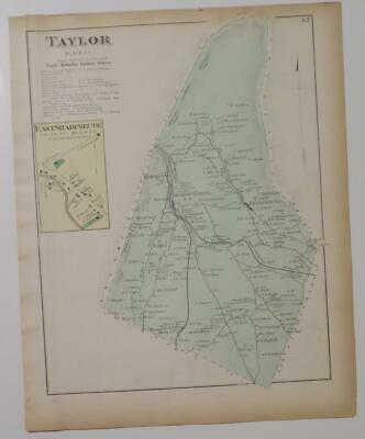 Orig. 1873 Hand Colored Map Brady Township,Mill Creek,Huntingdon Co.,Pa,Owners