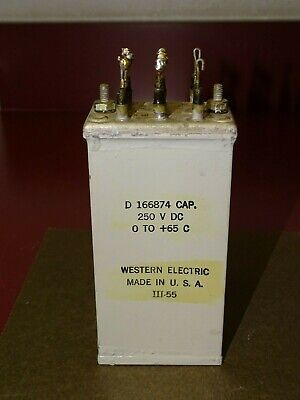 Western Electric Type D166874 Oil Capacitor, Vintage, Four .5 MFD Sections, Good