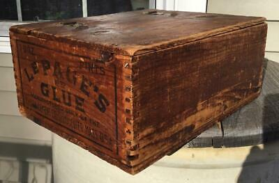 Antique Dovetail Advertising LePage's Glue Wooden Ship Box & Lid Gloucester Mass