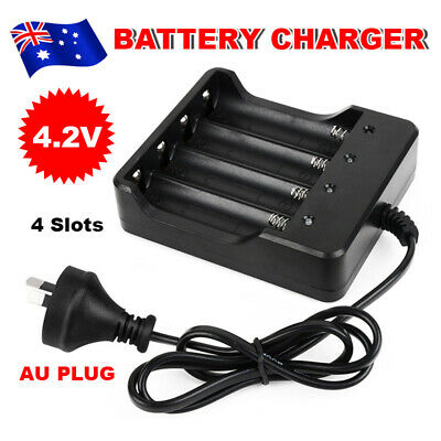 4Slot 18650 4.2V Li-ion Smart Charger Rechargeable Battery Chargers AU PLUG NEW