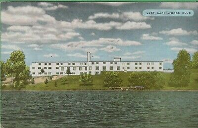 Vintage Michigan MI Postcard Last Lake Woods Club Lodge on Badger Lake Alpena