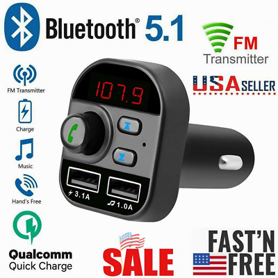 Bluetooth In-Car Wireless FM Transmitter MP3 Radio Adapter Car 2-USB Charger USA