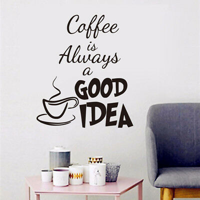 Coffee Cups Kitchen Wall Stickers Vinyl Art Decals Cafe Diner DIY Decor Charm