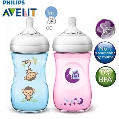 PHILIPS AVENT Natural Baby Bottle *Blue Monkey / Pink Owl **9oz / 260ml