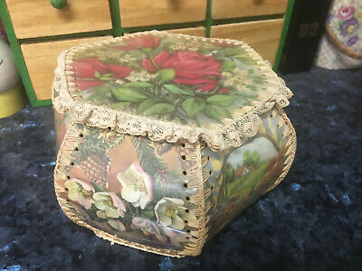 Vintage 'Roses' Pretty Little Card Basket / Sewing / Nic Nacs  - Rare  -Buy Now