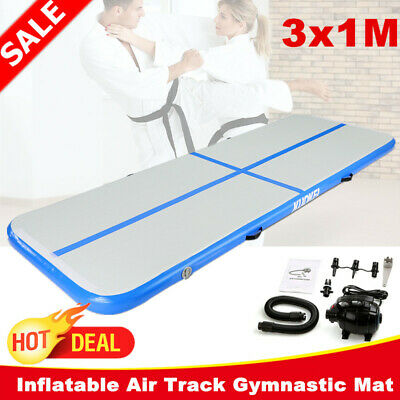KUOKEL 3M Airtrack Inflatable Air Track Gymnastic Mat Floor Home Gym Yoga W/Pump