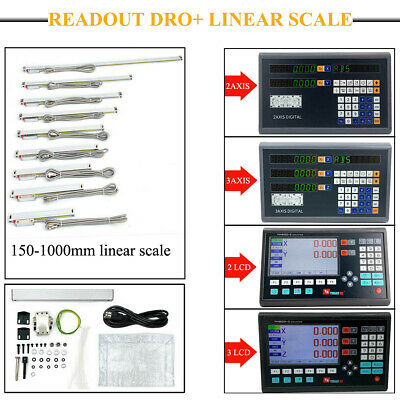 For Milling Lathe 2/3Axis Digtal/LCD DRO Readout Display+TTL Linear Glass Scale