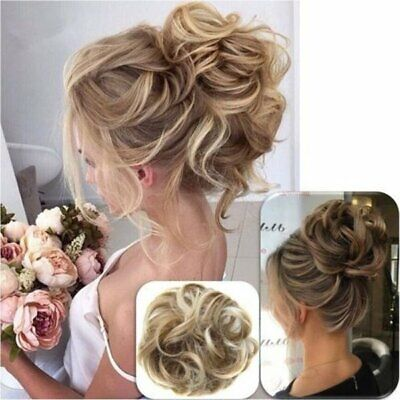 LARGE Curly Messy Bun Hair Piece Scrunchie Thick Hair Updo Extension Ponytail UK