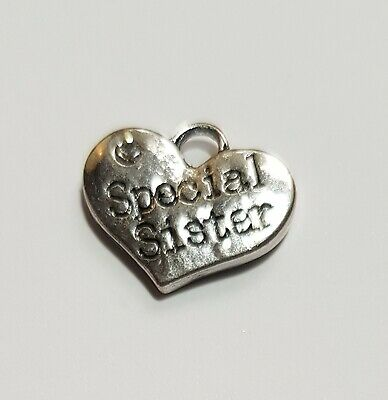 6 cute Sister heart charms Jewellery Crafts Cards Favors Charm Bracelet