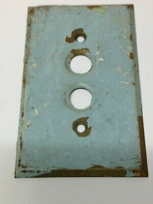 Antique Vintage Usa Brass Push Button Light Switch Plate Part