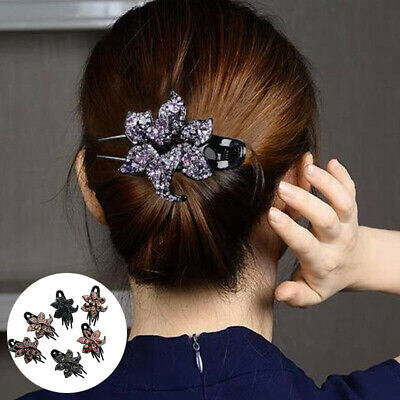 Hairpin Slide Clips Pins Crystal Grips Accessories Flower Hair Comb Women's