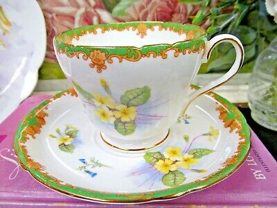 SHELLEY tea cup and saucer floral blossom yellow primrose pattern teacup