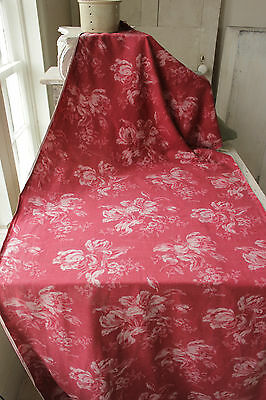 Fabric Antique French cretonne floral red ground with Tulip pattern pink & red