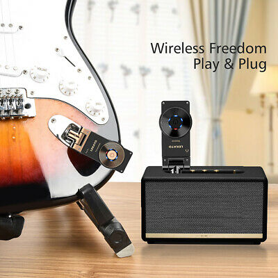Lekato WS-20 Wireless Guitar Bass System Audio Transmitter Receiver Black + Gold